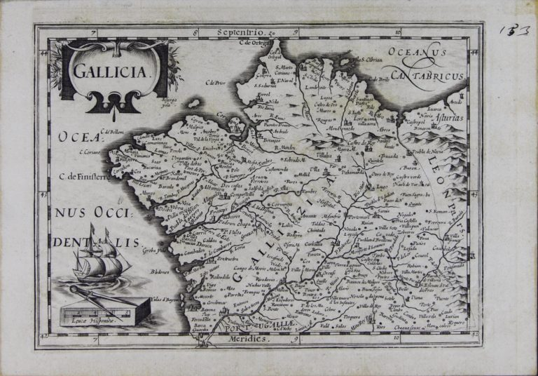 Mapa da Galiza ca. 1630, de Iudoci Hondij e Johannis Cloppenburgij
