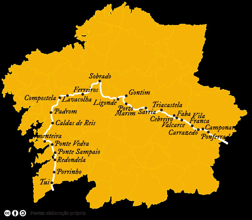 Mapa do percurso de Claude de Bronseval