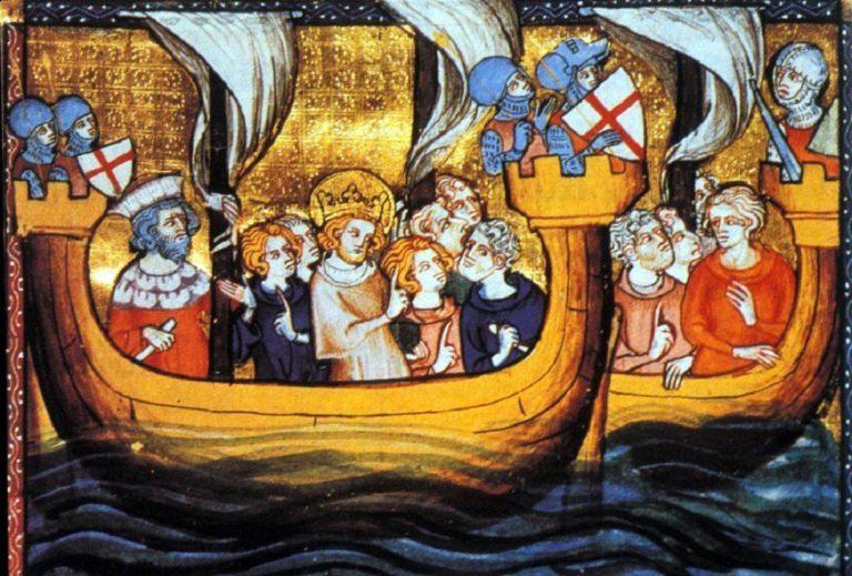 Rei Luís IX da França durante a sétima cruzada, iniciada em 1248. Contodo, ilustra bem o uso de barcos para chegar à Palestina e à Síria histórica.